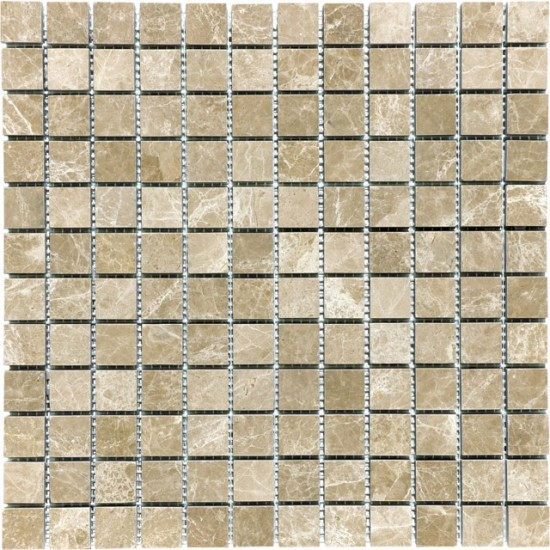 1x1 Emperador Light Marble Square Pattern Polished Mosaic Tile