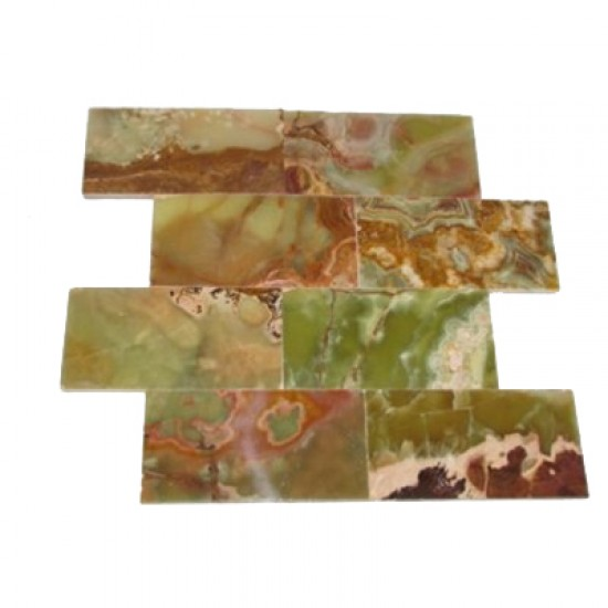 3 in. x 6 in. Multi Green Onyx Subway Polished Tile