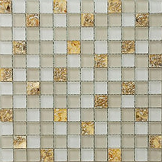 "7/8"" x 7/8"" serene cream / ivory mother of pearl glass mosaic tile"
