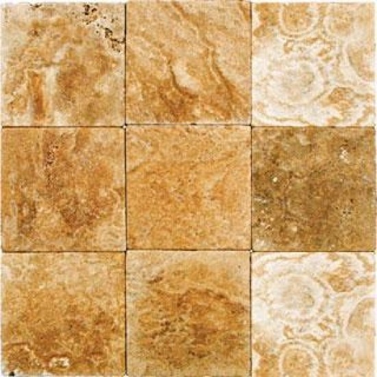 4x4 English Walnut Travertine Square Pattern Tumbled Finish Mosaic Tile