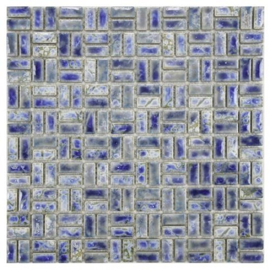 Boulder Glossy Blue Square 12 in. x 12 in. x 6 mm Weave Neptune Porcelain Mosaic Tile