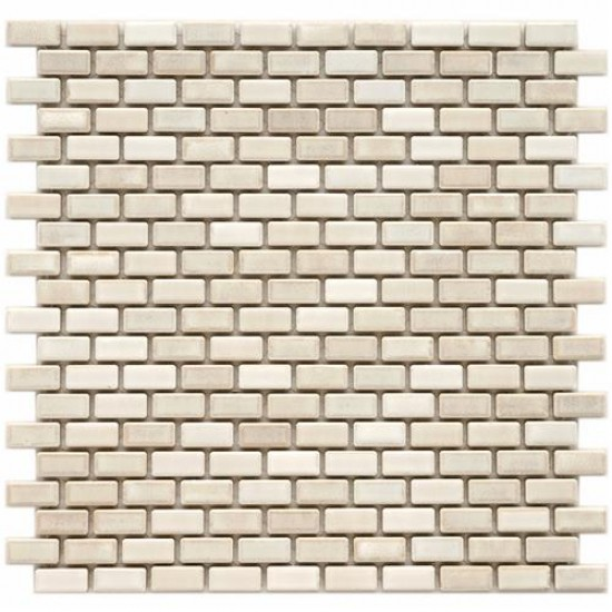 Boulder Glossy Bone Brick Subway 11-3/4 in. x 11-3/4 in. x 6 mm Glacier Porcelain Mosaic Tile