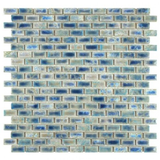 Boulder Glossy Blue Brick Subway 11-3/4 in. x 11-3/4 in. x 6 mm Neptune Glazed Porcelain Mosaic Tile
