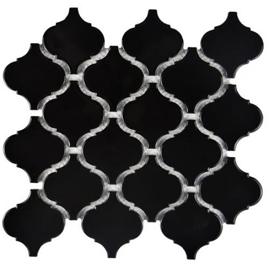 Cityside Glossy Black Lantern Pattern 9-3/4 in. x 10-1/4 in. x 6 mm Porcelain Mosaic Tile