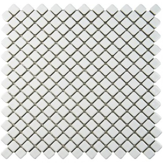 London Glossy Pearl Diamond 12.375 in. x 12.375 in. x 5 mm Porcelain Mosaic Tile
