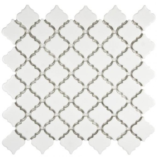 London Glossy Pearl Lantern Pattern 12-3/8 in. x 12-1/2 in. x 5 mm Porcelain Mosaic Tile
