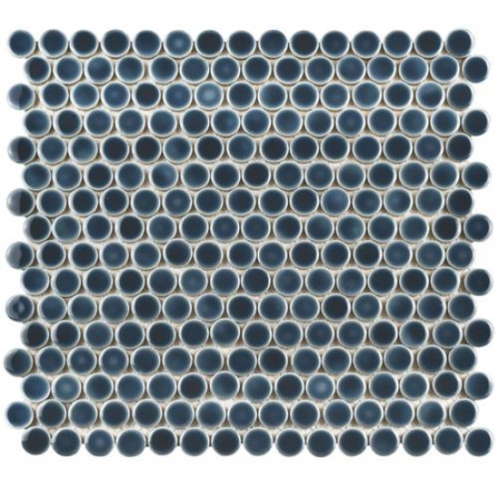 London Blue Penny Round Glossy Porcelain Mosaic Tile