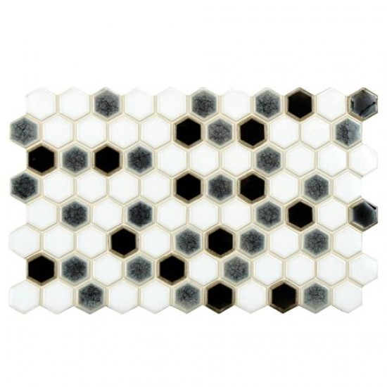 Casella Glossy Multi Haxagon 5-1/2 in. x 9 in. Checkerboard Porcelain Floor and Wall Tile