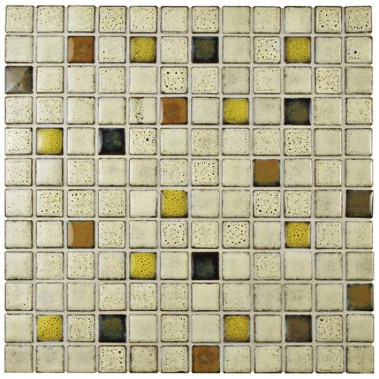 Audubon Glossy Multi Square 12 in. x 12 in. x 6 mm Sierra Ceramic Floor and Wall Mosaic Tile