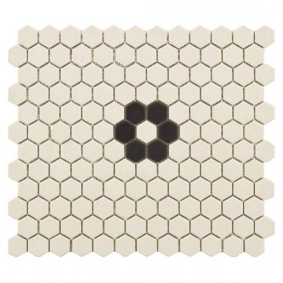 Ivory Matte Hexagon with Flower 10-1/4 in. x 12 in.Antique Unglazed Porcelain Mosaic Tile (8.54 sq. ft. / case)