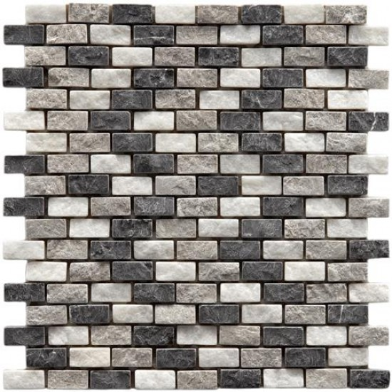 Multi Tumbled Brick 11-1/2 in. x 12 in. x 9 mm Subway Charcoal Natural Stone Mosaic Wall Tile