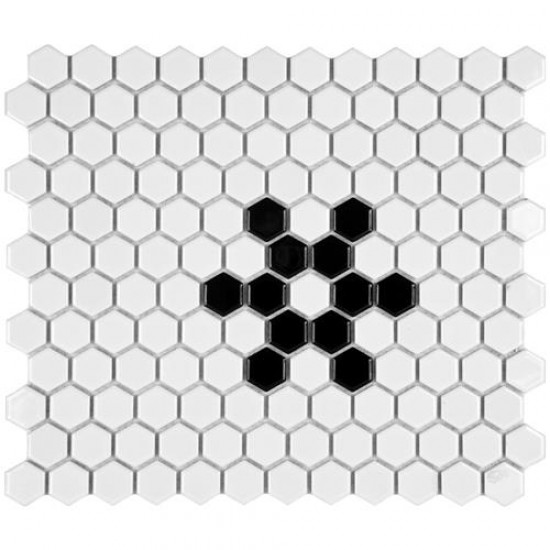Cityside Glossy White Hexagon with Black Snowflake 10-1/4 in. x 11-3/4 in. x 5 mm Porcelain Mosaic Tile (8.54 sq. ft. / case)