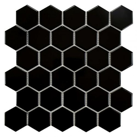 Cityside Glossy Black Hexagon 10-1/2 in. x 11 in. x 5 mm Porcelain Mosaic Tile (8.02 sq. ft. / case)