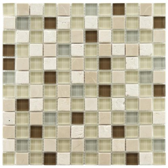 Gypsy Mixed Multi Square 11-3/4 in. x 11-3/4 in. x 8 mm York Glass and Stone Mosaic Wall Tile