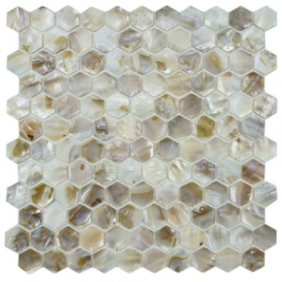 Conchella Polished Bone Hexagon 12 in. x 12 in. x 3 mm Natural Seashell Mosaic Wall Tile