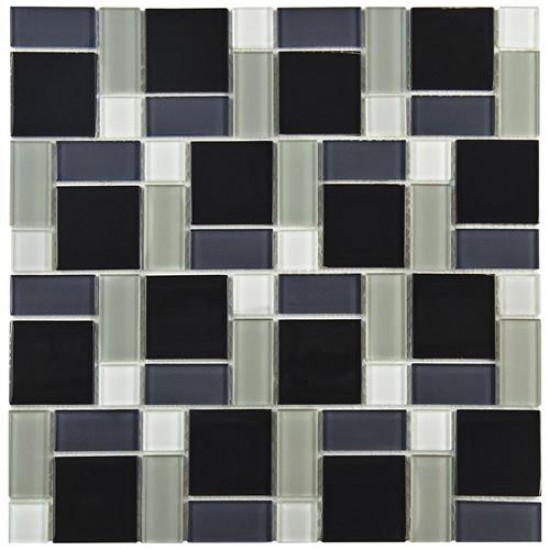 Black-White Glossy Varying 11-3/4 in. x 11-3/4 in. x 5 mm Glass Mosaic Wall Tile