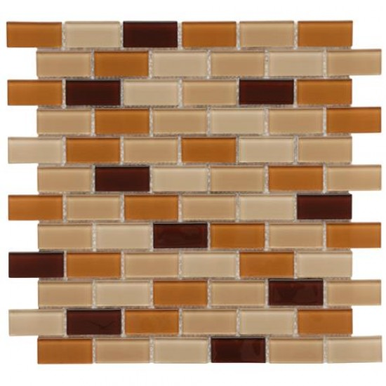 Orange-Peach Glossy Brick 11-3/4 in. x 11-3/4 in. x 5 mm Glass Mosaic Wall Tile