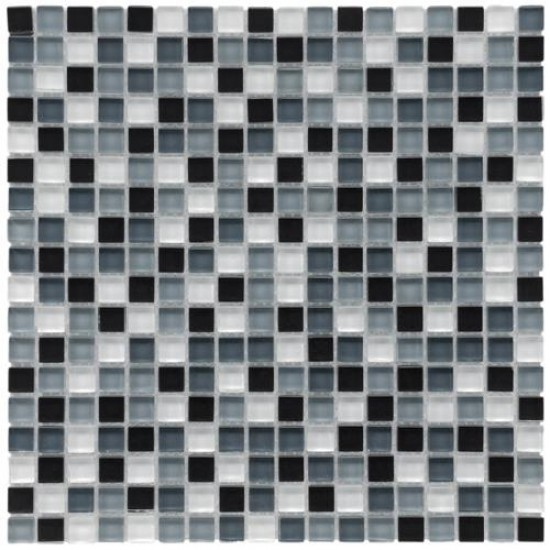 Gypsy Mixed Multi Square 11-3/4 in. x 11-3/4 in. x 8 mm Mini Night Glass Mosaic Tile