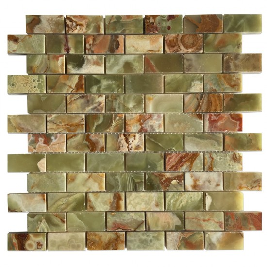 1 in. x 2 in. Dark Green Onyx Bricks Pattern Polished Finish Mosaic Tile