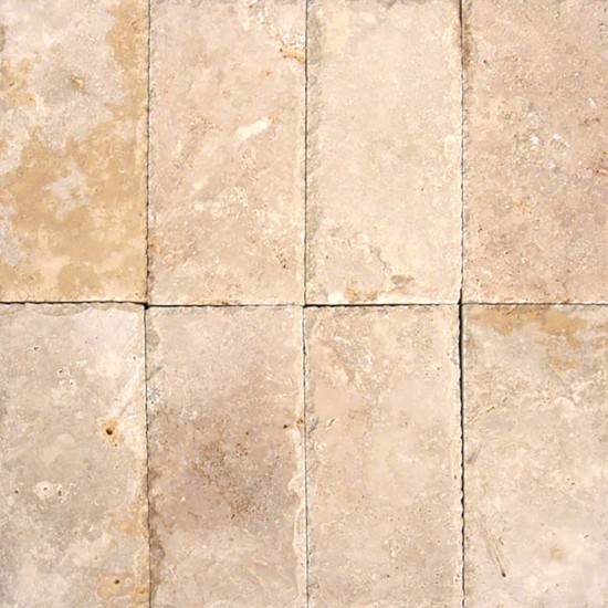 6 in. x 12 in. Tuscany Beige Chiseled Edge Travertine Paver Tile (Each Sqft = 2 Piece)