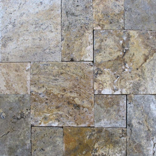 8 in. x 8 in. Tuscany Scabas Tumbled Travertine Paver Tile (Each Tile = 0.444 Sqft.)