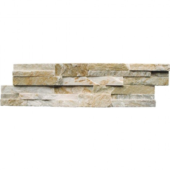 6 in. x 24 in. Golden Honey Natural Quartzite Ledger Panels Wall Tile