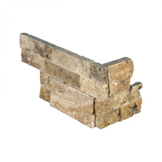 6 in. x 12 in. x 6 in. Tuscany Scabas Travertine Corner Ledger Panels Wall Tile