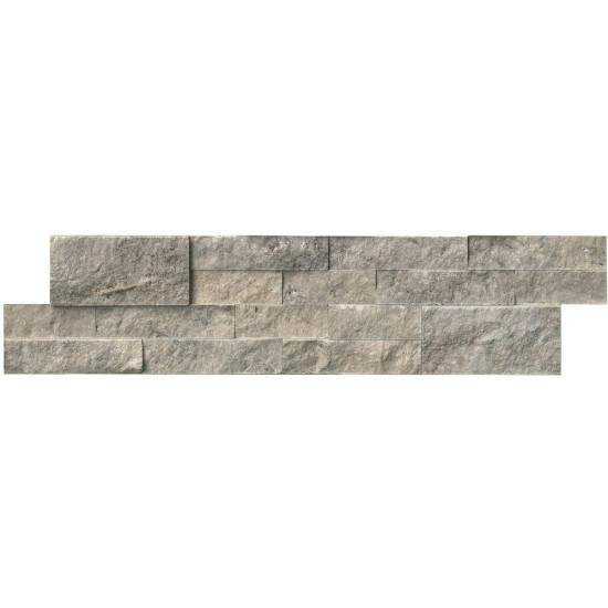 6 in. x 24 in. Silver Travertine Ledger Panels Wall Tile