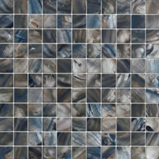 "1""x1"" Cobalt blue shell square polished mosaic tile"