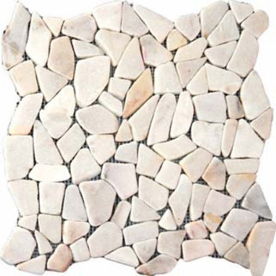 Cracked Joint White Flat Marble Pebble Pattern Mosaic Tile