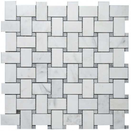Bianco White Carrara Marble Large Basketweave with Tiny Grey Dot Polished Mosaic Tile