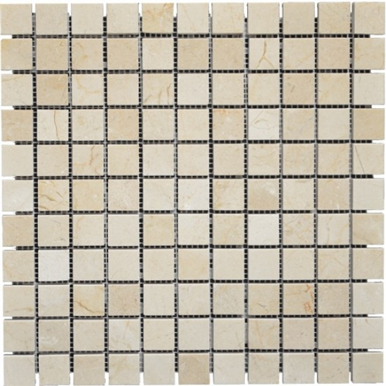 1x1 Crema Marfil Marble Square Pattern Tumbled Mosaic Tile