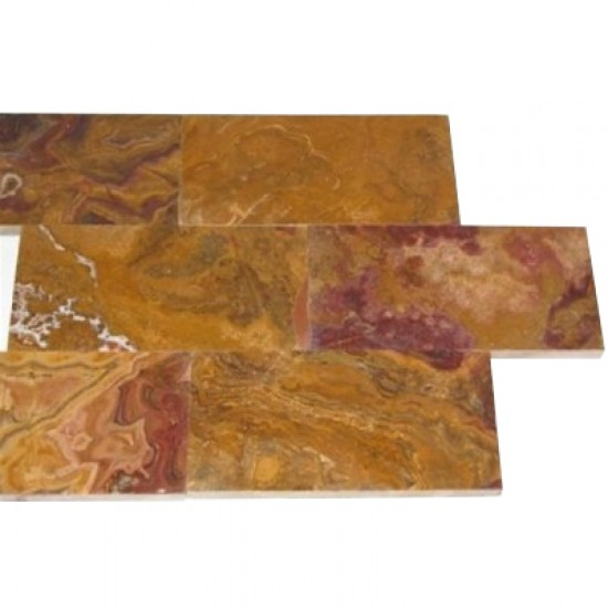 "3"" x 6"" Multi Brown Onyx Subway Pattern Polished Finish Mosaic Tile"