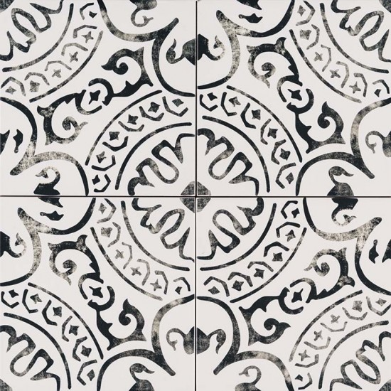 8x8 Kenzzi Paloma White Black Matte Porcelain Tile (5.16 Sqft./Box)