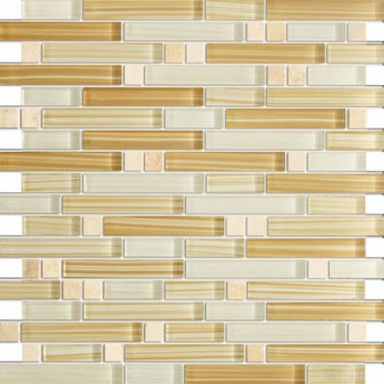 Cinnamon beige random bricks marble & glass mosaic tile
