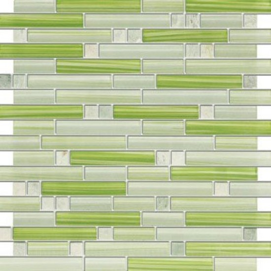 Apple Martini Random Strip Marble & Green Glass Mosaic Tile
