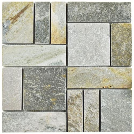 Redwood Natural Grey Patchwork 12 in. x 12 in. x 10 mm Quartzite Stone Mosaic Tile
