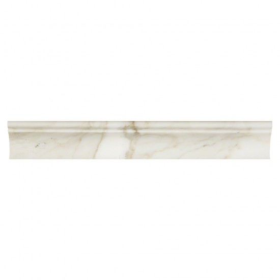 2 in. x 12 in. Calacatta Gold Cornice Molding Polished Marble Mosaic Tile