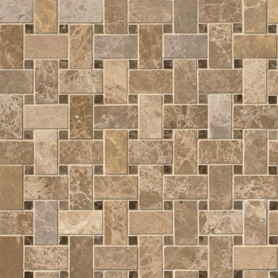1x2 Emperador Blend Marble Basketweave Pattern Polished Mosaic Tile
