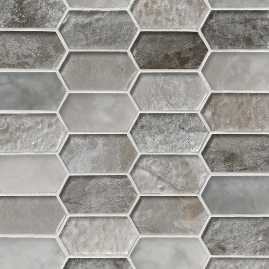 Savoy Picket Pattern Crystallized Glass Mosaic Tile Smot