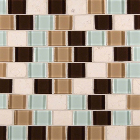 1.25x1.25 Desert Mirage Glass Stone Blend Polished Mosaic Tile
