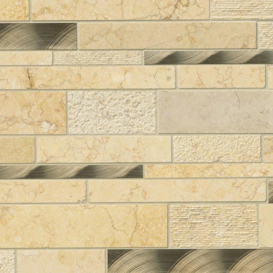 Cairo Blend Interlocking Pattern 8mm Stone Metal Mosaic Tile