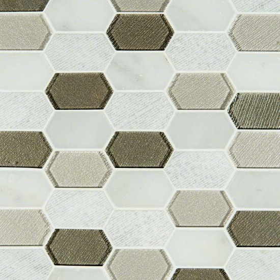 1x1 Inessa Blanco Picket Pattern 8mm Glass Stone Mosaic Tile