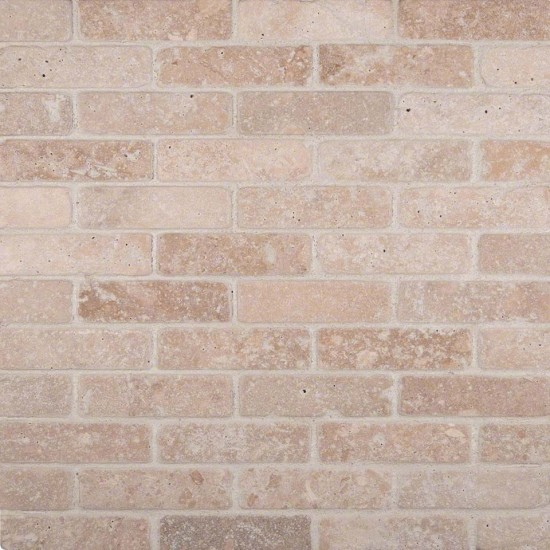 1x3 Tuscany Classic Travertine Brick Pattern Tumbled Finish Mosaic Tile