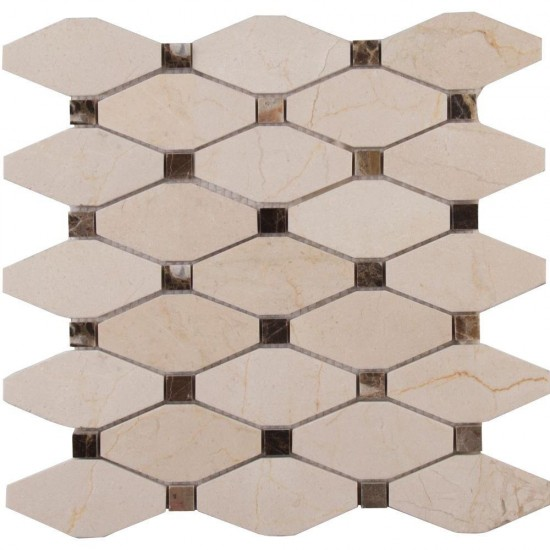 Valencia Blend Elongated Octagon Polished Marble Mosaic Tile