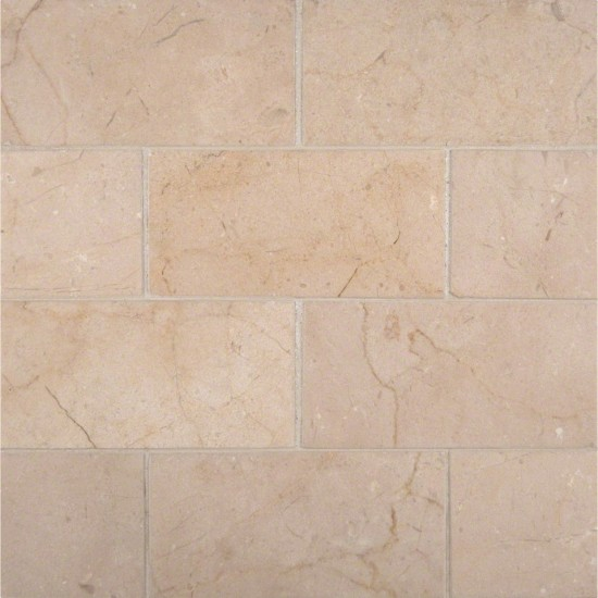 3 in. x 6 in. Subway Crema Marfil Marble Polished Mosaic Tile