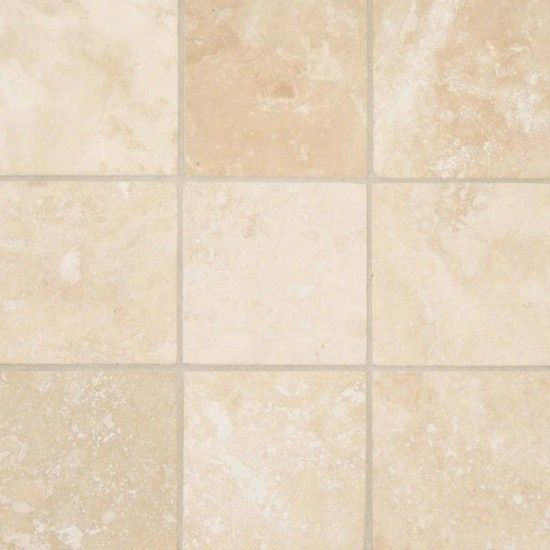 4x4 Tuscany Travertine Ivory Square Pattern Honed Tile