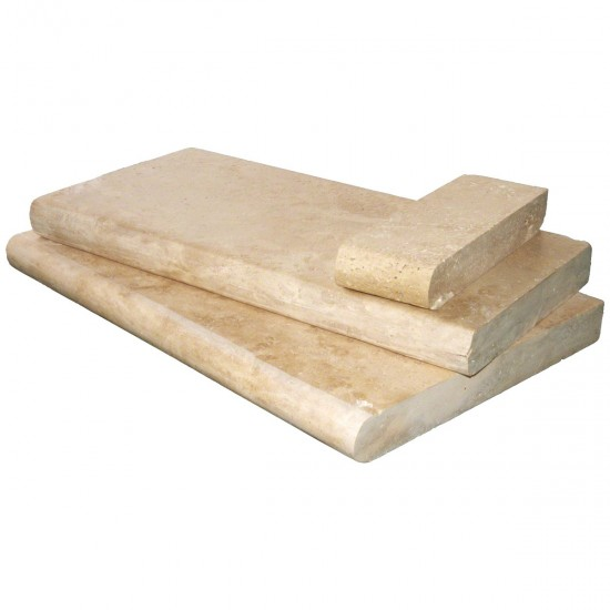 Tuscany Beige Travertine 16 in. x 24 in. x 5 cm Honed/Unfilled/Brushed Coping for Pool, Patio, Treads (Each Pieces : 2.67 Sqft.)
