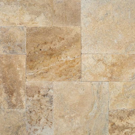Tuscany Porcini Versailles Pattern Tumbled Travertine Pavers Tile for Driveway, Pool Deck and Patio (Each Pattern Kit = 16 Sqft.)
