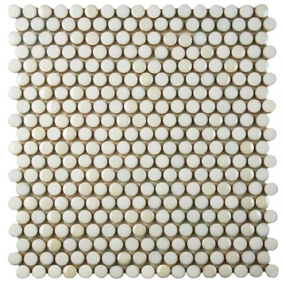 Galaxy White Penny Round Glossy and Matte Porcelain Mosaic Tile